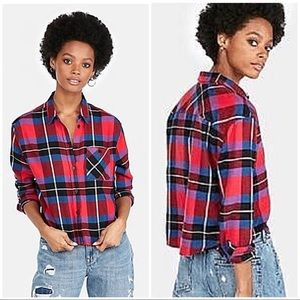 NEW Express Size XS Flannel Plaid Cropped Shirt